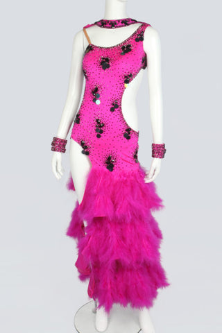Fuchsia Pink and Black Sequin Latin Dress