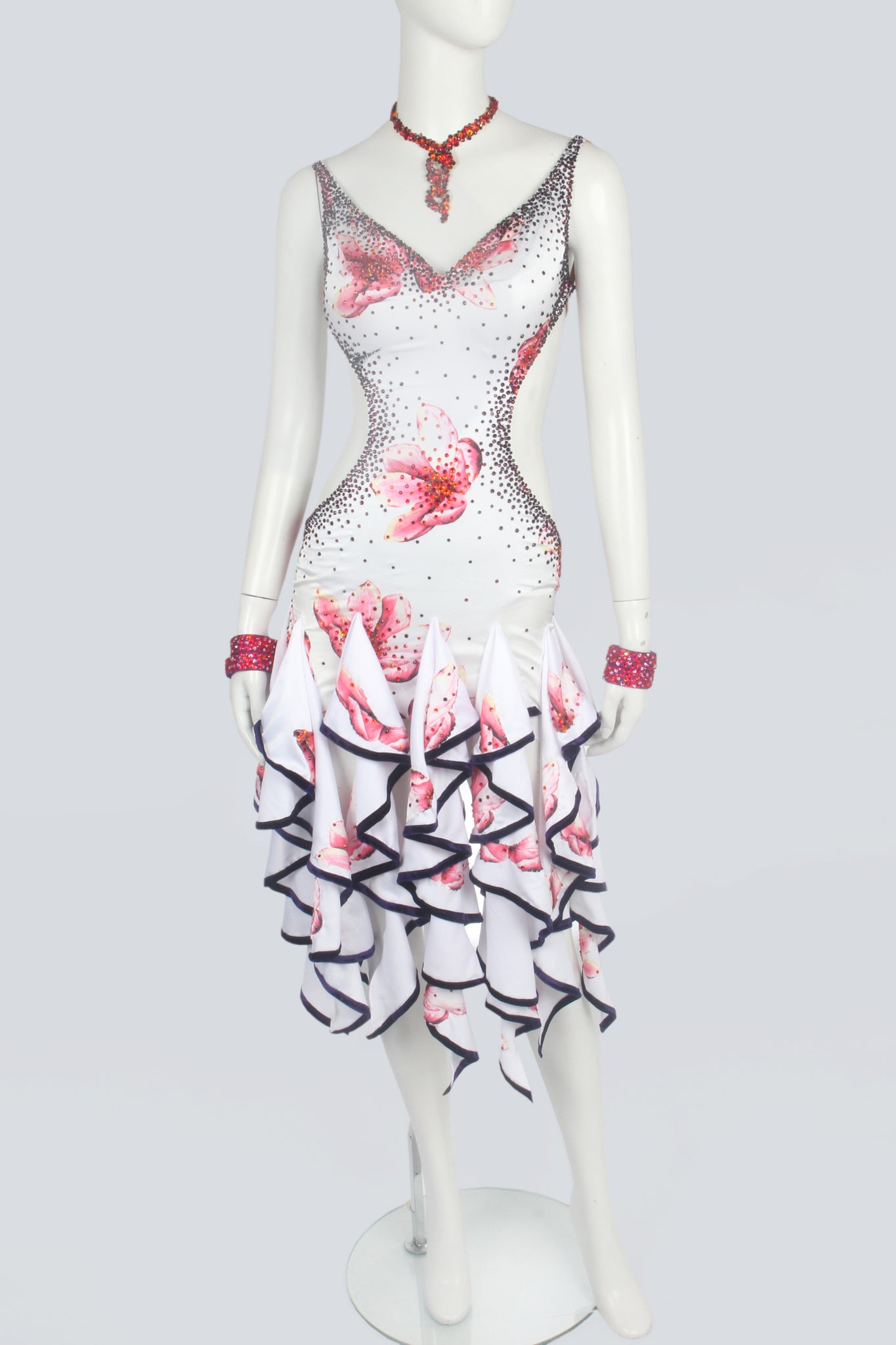 White and Pink Flower Latin Dress