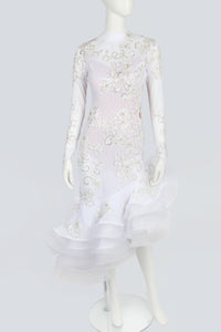 White and Aurora Rhinestones Latin Dress