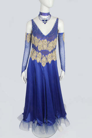 Royal Blue and Gold Motif Paso Dress