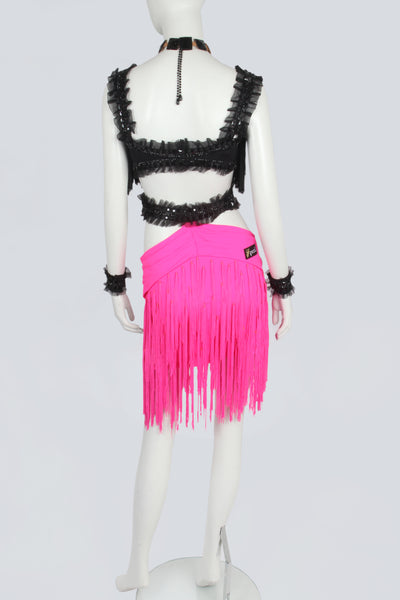Black and Pink Fringe Latin Dress