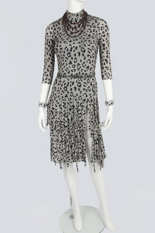 Olive Leopard Pattern Latin Dress