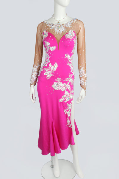 Pink and White Motif Latin Dress
