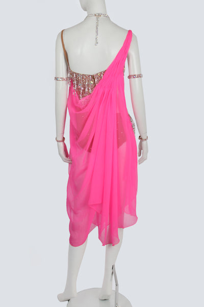 Cerise Pink Draping Latin Dress