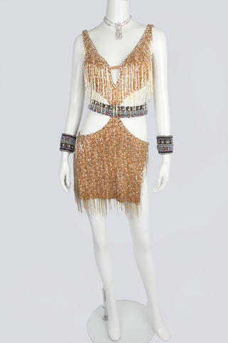 Gold Beads Fringe Latin Dress