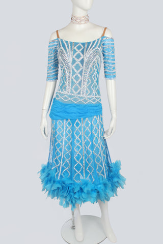 Blue and Pearl Line Latin Dress