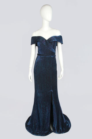 Navy Lamé Evening Dress