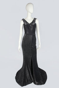 Black Silver Lamé Evening Dress
