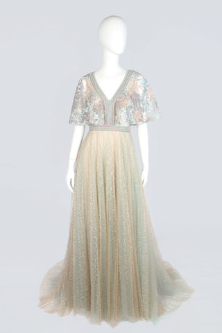 Beige and Mint Evening Dress