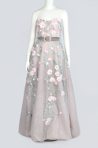 Gray and Pink Floral Evening Dress