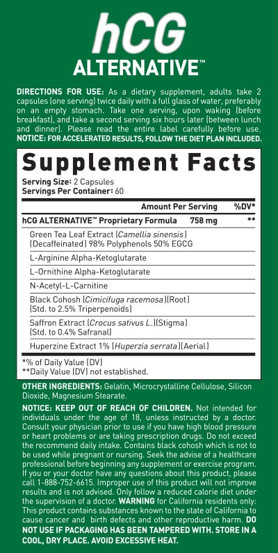 HCG Supplement Facts