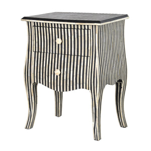 Bone Inlay Bedside Table 2-Drawer Stripe - Black