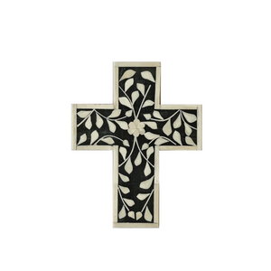 Bone Inlay Floral Small Cross - Black