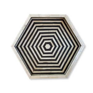 Bone Inlay Hexagon Tray - Black