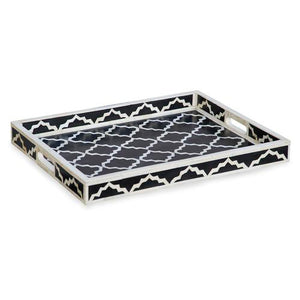 Bone Inlay Imperial Rectangular Tray - Black