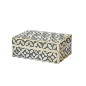 Bone Inlay Geometric Small Gift Box - Dark Grey