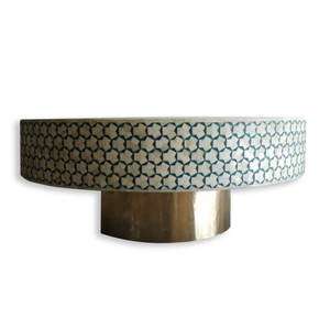 Bone Inlay Coffee Table - Teal and Brass