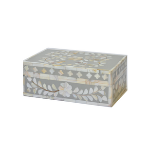 Mother of Pearl Floral Small Gift Box - Light Grey