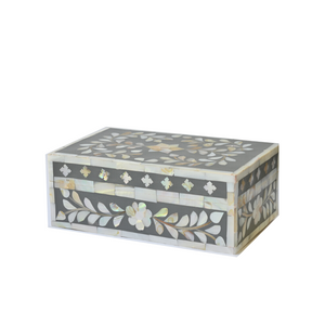 Mother of Pearl Floral Small Gift Box - Dark Grey