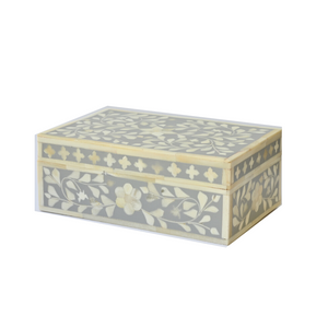 Bone Inlay Floral Small Gift Box - Grey