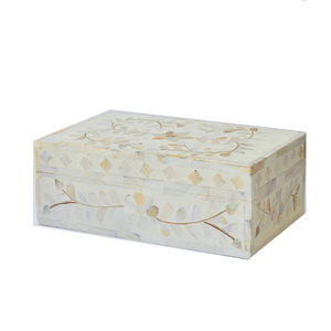 Mother of Pearl Floral Small Gift Box - White