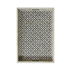 Bone Inlay Geometric Rectangular Tray - Black