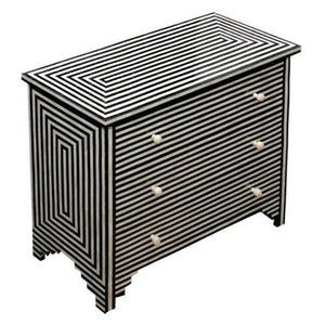 Bone Inlay Stripe Chest 3-Drawers - Black and White