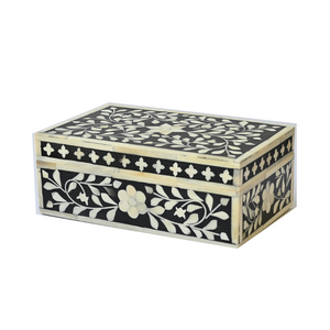 Bone Inlay Floral Small Gift Box - Black