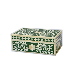 Bone Inlay Floral Small Gift Box - Emerald Green