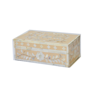 Mother of Pearl Floral Small Gift Box - Peach