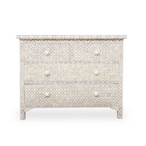 Bone Inlay Chest 4-Drawer Geometric - Grey
