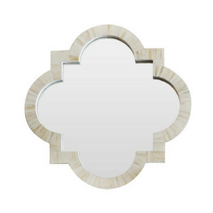 Bone Inlay Quatrefoil Mirror - White