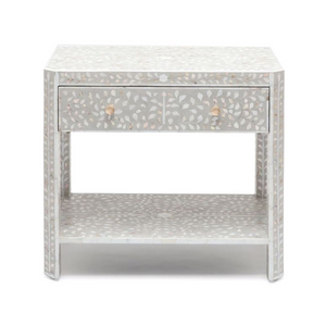 Mother of Pearl Inlay Floral Bedside Table 1-Drawer - Grey