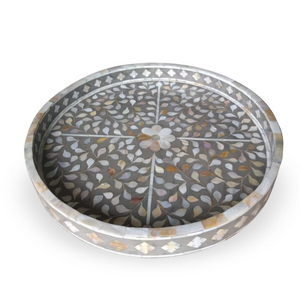 Mother of Pearl Inlay Floral Round Tray - Grey