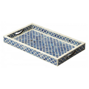 Bone Inlay Diamond Rectangular Tray - Blue