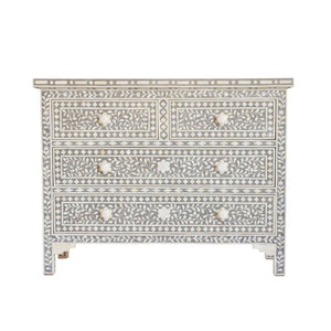 Bone Inlay Floral Chest 4-Drawers - Dove Grey