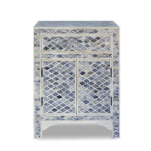 Bone Inlay Diamond Bedside Table with Cabinet - Grey