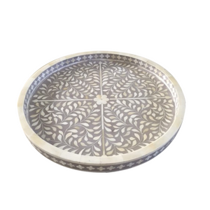 Bone Inlay Floral Round Tray - Grey