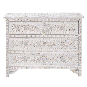 Mother of Pearl Floral Chest 4-Drawers - White