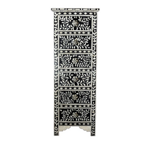 Bone Inlay Floral Tallboy Chest - Black