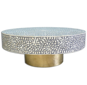Bone Inlay Floral Coffee Table - Grey and Brass