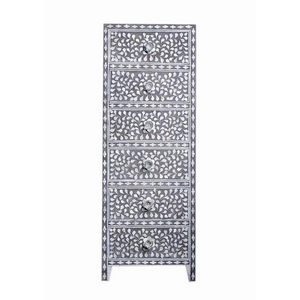 Mother of Pearl Floral Tallboy Chest - Grey