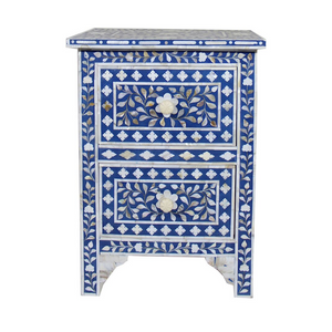 Mother of Pearl Inlay Bedside Table 2-Drawer Florel - Blue