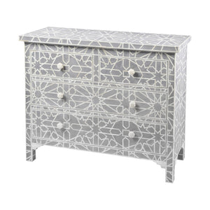 Bone Inlay Chest 4-Drawer Star - Grey
