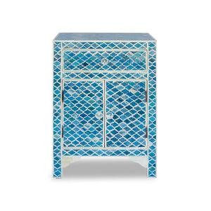 Bone Inlay Diamond Bedside Table with Cabinet - Blue