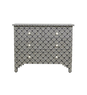 Bone Inlay Chest 4-Drawer Diamond - Black