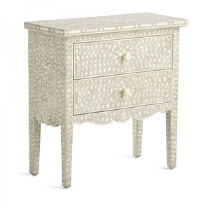 Bone Inlay Provincial Floral Bedside Table 2-Drawers - Grey