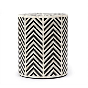 Bone Inlay Chevron Side Table in Black