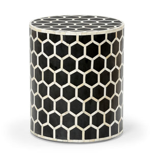 Bone Inlay Honeycomb Side Table in Black