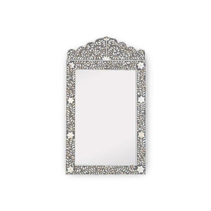 Mother of Pearl Floral Crested Mirror - Grey